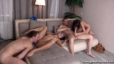 Emmy, Aziza in Foursome party with sex cards